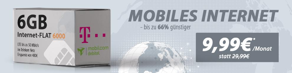 Telekom Datentarif Internet Flat 6GB mit LTE nur 9,99€ mtl.