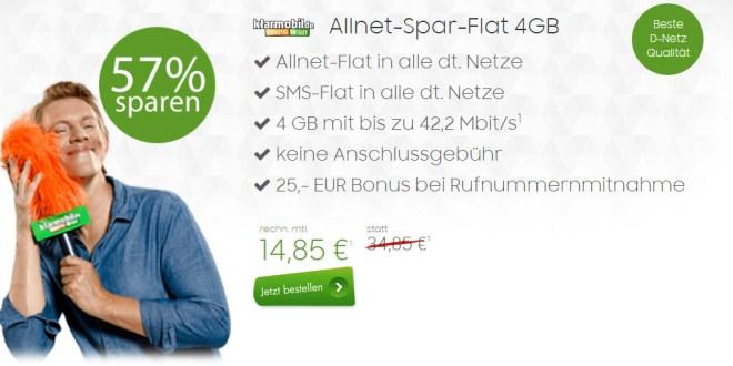 Allnet-Spar-Flat von klarmobil mit 4GB nur 14,85€ mtl.