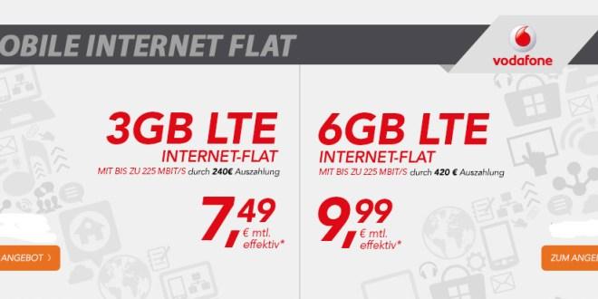 Datentarif mit 6GB und LTE bis 225 Mbit/s effektiv nur 9,99€ mtl.