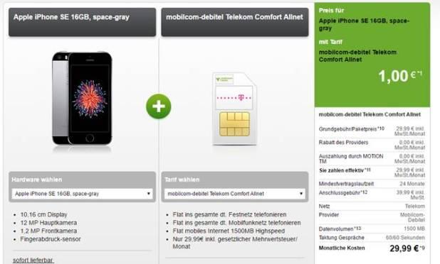 Telekom Comfort Allnet + 1,5 GB + iPhone SE nur 29,99€ mtl.