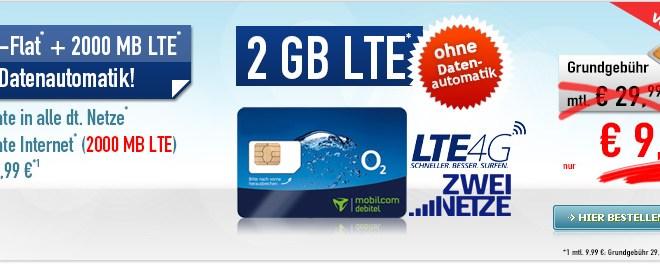 Allnet Flat 2 GB LTE -ohne Datenautomatik- 9,99€ mtl