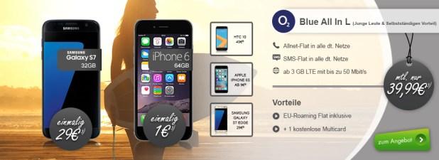Apple iPhone 6 64GB + o2 Blue All In L+ 6GB LTE nur 39,99€ mtl.