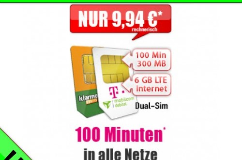Dual Sim: 100 Min+Telekom Netz+ 6 GB LTE nur 9,94€ mtl.