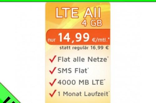 LTE All 4 GB monatlich kündbar nur 14,99€ mtl.