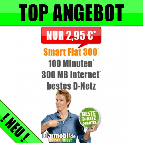 Telekom Netz + 100 Minuten + 300 MB nur 2,95€ mtl.