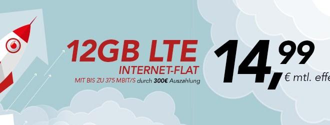 DataGo L Vodafone mit 12GB LTE nur 14,99€ mtl. effektiv