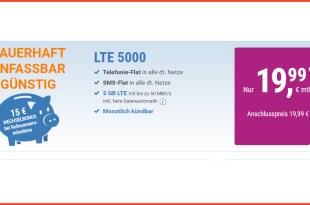 LTE 5000 MB+ Allnet+ SMS+ EU+ monatlich kündbar nur 19,99€ mtl.