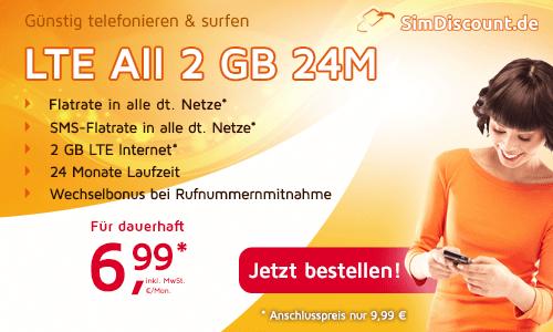 LTE Allnet Flat + 2 GB LTE Internet nur 6,99 € mtl.
