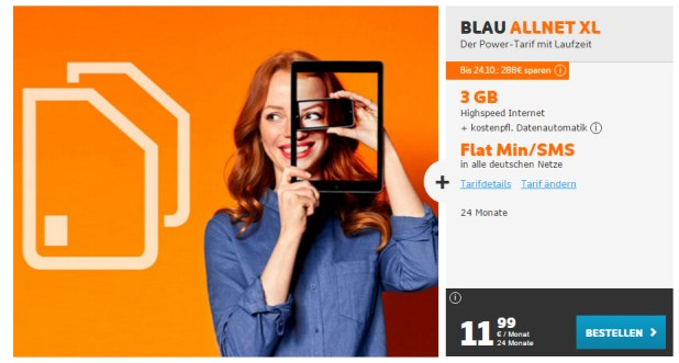 Blau Allnet XL+ 3GB Daten nur 11,99€ mtl.