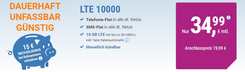 10 GB LTE + Allnet + SMS+ EU + monatlich kündbar nur 34,99€ mtl.