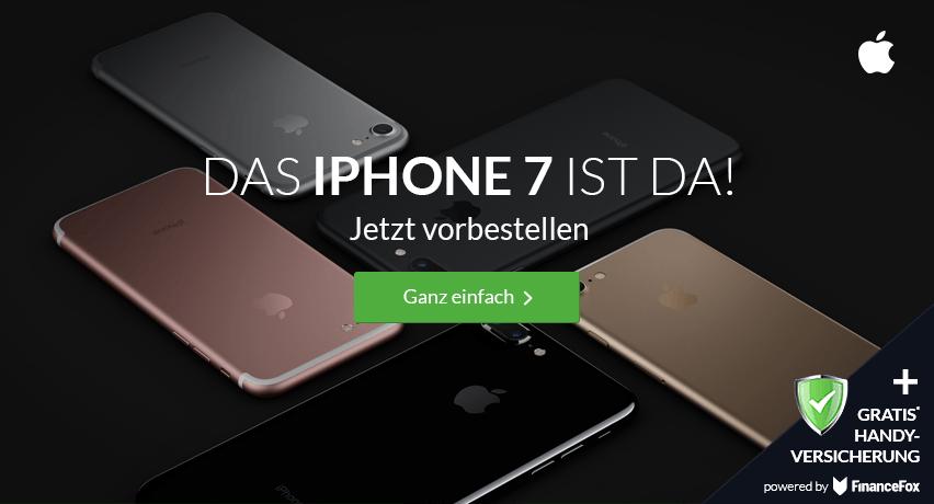 iPhone 7+ 2GB LTE+ Allnet+ SMS+ EU Roaming+ Handyversicherung nur 44,99€ mtl.