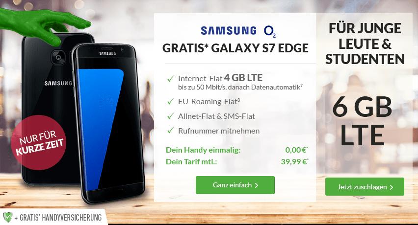 Blue All-In L Young +6GB LTE+ S7 Edge+ EU+ Handyversicherung nur 39,99€ mtl.