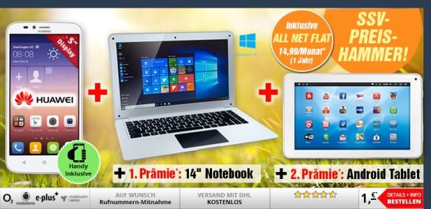 Smartphone + Notebook + Tablet + Allnet Flat nur 22,49€ mtl.