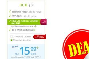 LTE Allnet 4 GB + monatlich kündbar nur 15,99€ mtl.