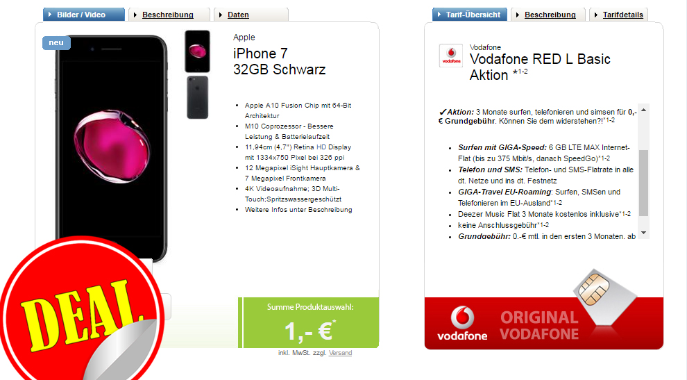 6 GB LTE MAX+ Allnet+ SMS+ EU+ iPhone 7 nur 49,99€ mtl.