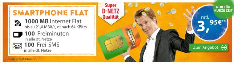 1 GB Internet-Flat+ 100 Min+ 100 SMS Vodafone nur 3,95€ mtl.