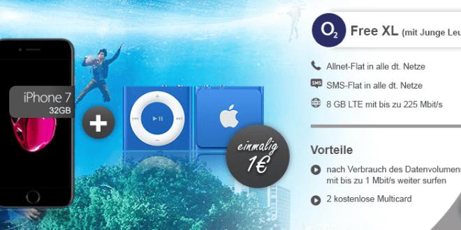 o2 Free XL 8GB LTE Junge Leute+ iPhone 7+ iPod nur 49,99€ mtl.