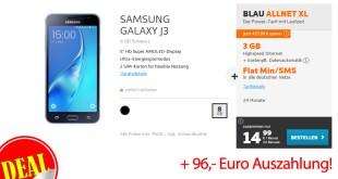 Samsung Galaxy J3 + Allnet + SMS + 3GB nur eff. 10,99€ mtl.