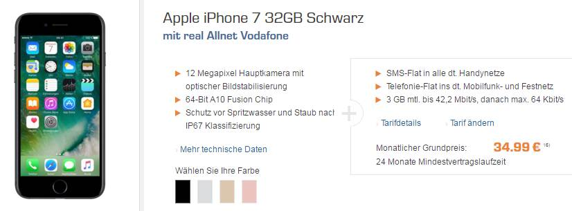 Apple iPhone 7 + Allnet + 3GB nur 34,99€ mtl.
