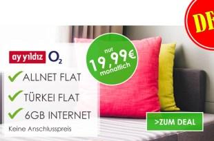 6 GB Highspeed Internet + Allnet + Türkei Flat nur 19,99€ mtl.