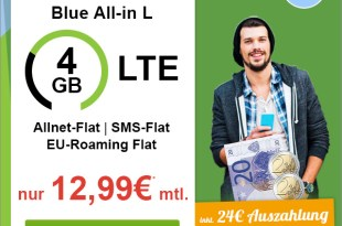 BASE Blue All-In L SIM-Only mit 4GB LTE nur 12,99€ mtl.
