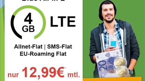 BASE Blue All-In L SIM-Only mit 4GB LTE nur 12,99€ mtl.