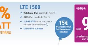 LTE 1500 + Allnet + SMS + EU +monatlich kündbar nur 9,99€ mtl.