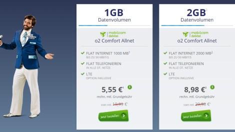 o2 Allnet Flat mit 2GB LTE nur 8,98€ mtl.