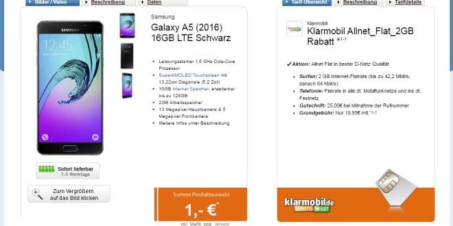 Galaxy A5 (2016) + Allnet + 2GB Vodafone nur 19,95€ mtl.