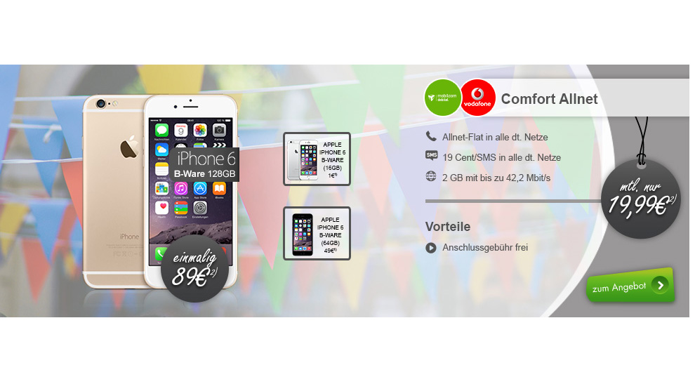 iPhone 6 + Allnet Flat + 2GB nur 19,99€ mtl.