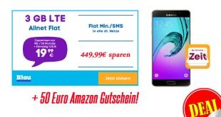 Samsung A5 + Allnet + 3GB LTE nur 19,99€ mtl. +50€ Amazon Gutschein