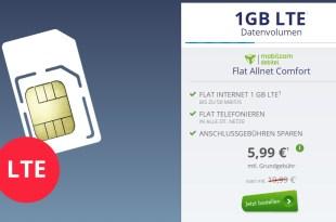 1 GB LTE + Allnet Flat + AG frei nur 5,99€ mtl.