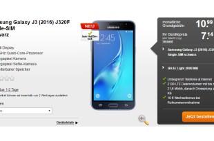 Galaxy J3 mit Allnet Flat und 2GB LTE nur 10,99€ mtl.