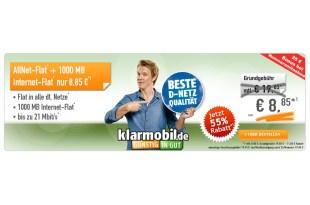 Klarmobil Allnet Flat 1000 MB Telekom 8.85€ mtl.