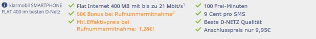 400 MB + 100 Min + 50 EUR Bonus! Nur 2,95 EUR/Monat