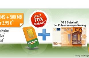 100 Min + 100 SMS + 500 MB + 50€ MNP-Guthaben nur 2,95€ mtl.