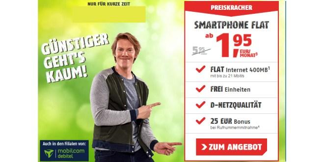 Nur 1,95 EUR/Monat! 400 MB & 100 Minuten + Telekom Netz