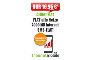 4GB mit Allnet Flat im D Netz und monatlich kündbar nur 16,95€