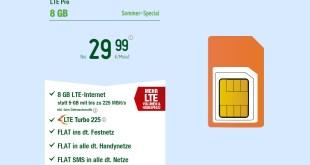 8 GB LTE Turbo mit Allnet und monatlich kündbar nur 29,99€ mtl.
