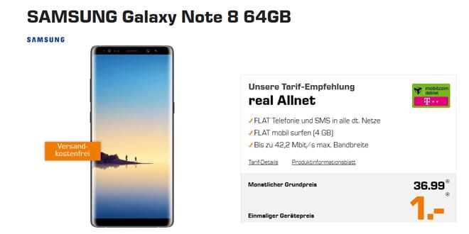 Galaxy Note 8 mit Allnet und 4GB Internet nur 36,99€ mtl.