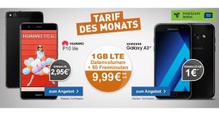 Huawei P10 Lite mit 1GB LTE und 50 Min nur 9,99€ mtl.