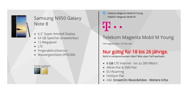 Galaxy Note 8 mit Telekom 6 GB LTE nur 49,95€ mtl.
