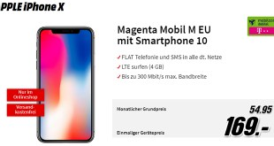 iPhone X mit 4 GB LTE Telekom nur 54,95€ mtl.