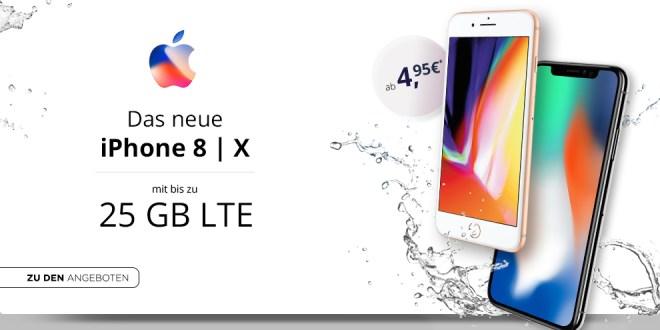 iPhone X mit 25 GB LTE & Allnet für 64,99€ mtl.