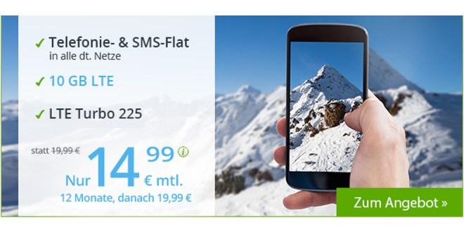 LTE Allnet 10 GB mit EU Roaming nur 14,99€ mtl.