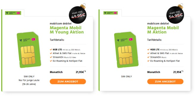 Magenta Mobil M Young Telekom 6GB LTE nur 21,95€ mtl.