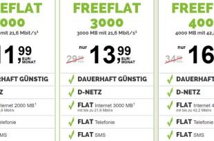 D-Netz Tarife mit bis zu 4 GB - monatlich kündbar - mit Amazon Gutschein