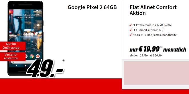 Google Pixel 2 mit Allnet im Vodafone Netz nur 19,99€ mtl.
