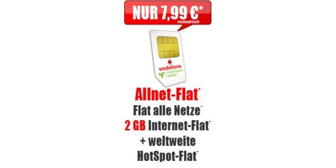 Vodafone Allnet Flat 2 GB nur 7,99€ mtl.