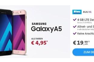 Galaxy A5 2017 mit 4 GB LTE und Allnet nur 19,99€ mtl.